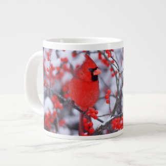 Northern Cardinal male, Winter, IL Giant Coffee Mug