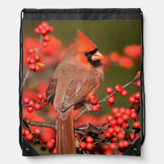 Northern Cardinal on Common Winterberry Drawstring Bag