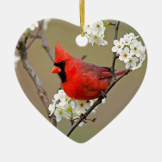Northern Cardinal Double-Sided Heart Ceramic Christmas Ornament
