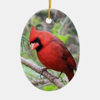 Northern Cardinal -- Traditional Christmas Bird Double-Sided Oval Ceramic Christmas Ornament