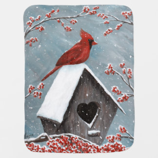 Northern Cardinal Winter Snow Receiving Blanket