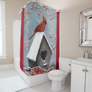Northern Cardinal Winter Snow Shower Curtain
