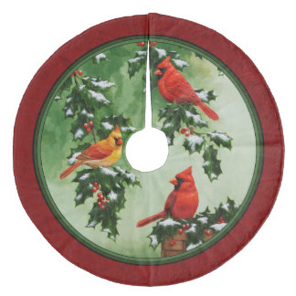 Northern Cardinals and Holly Red Fleece Tree Skirt