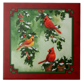 Northern Cardinals and Holly Red Tile