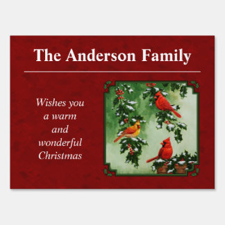 Northern Cardinals and Holly Red Yard Sign