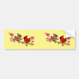 Northern Cardinals on Blossom Branch Bumper Sticker