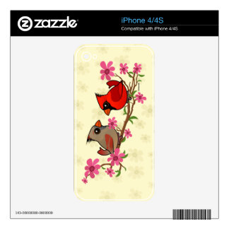Northern Cardinals on Blossom Branch Decal For iPhone 4