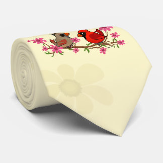Northern Cardinals on Blossom Branch Neck Tie