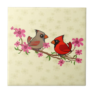 Northern Cardinals on Blossom Branch Tile