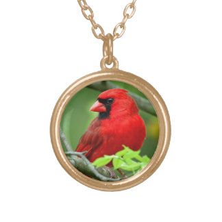 Northern cardinals round pendant necklace