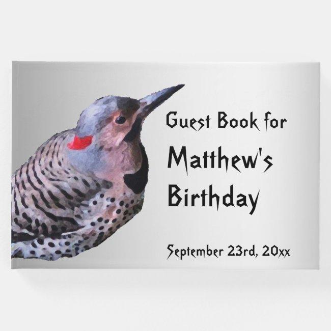 Northern Flicker Bird Birthday Guest Book