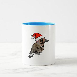 Northern Flicker Santa Claus (yellow shafted) Two-Tone Coffee Mug
