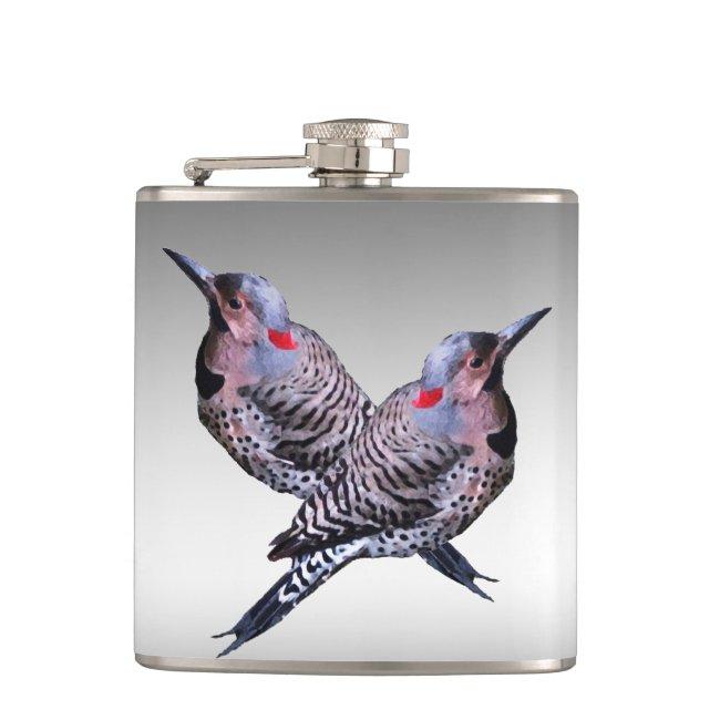 Northern Flicker Woodpecker Birds Flask