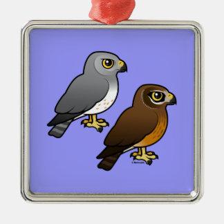 Northern Harrier pair Metal Ornament