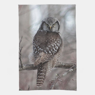 Northern Hawk Owl Hand Towel