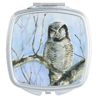Northern hawk Owl watercolor painting Compact Mirror