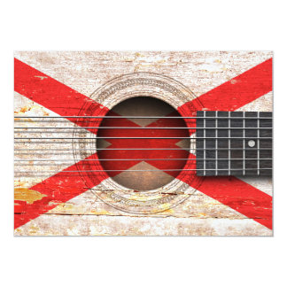 Northern Ireland Flag on Old Acoustic Guitar 5x7 Paper Invitation Card