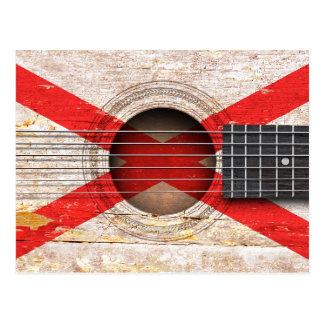 Northern Ireland Flag on Old Acoustic Guitar Postcard