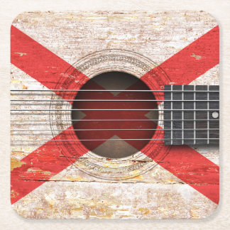 Northern Ireland Flag on Old Acoustic Guitar Square Paper Coaster