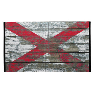 Northern Ireland Flag on Rough Wood Boards Effect iPad Folio Cover