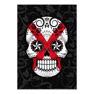Northern Ireland Flag Sugar Skull with Roses 3.5x5 Paper Invitation Card