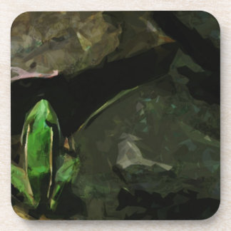 Northern Leopard Frog on Rocks Abstract Beverage Coaster