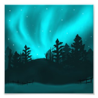 Northern Light Aurora Winter Illustration Wall Art
