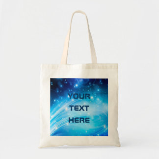 Northern Light Stars blue + your text & ideas Budget Tote Bag