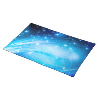 Northern Light Stars blue + your text & ideas Cloth Placemat