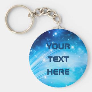 Northern Light Stars blue + your text & ideas Keychain