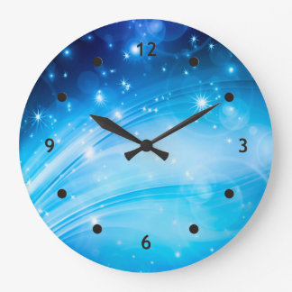 Northern Light Stars blue + your text & ideas Large Clock