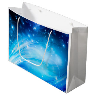 Northern Light Stars blue + your text & ideas Large Gift Bag