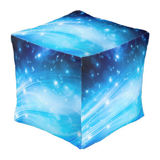 Northern Light Stars blue + your text & ideas Pouf