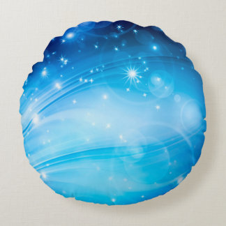 Northern Light Stars blue + your text & ideas Round Pillow