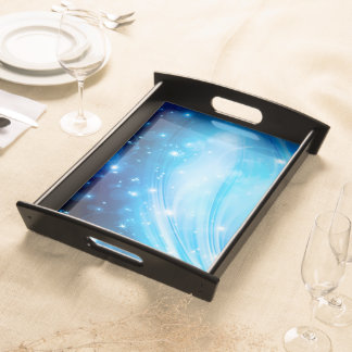 Northern Light Stars blue + your text & ideas Serving Tray