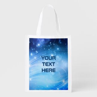 Northern Light Stars blue + your text & ideas Market Tote