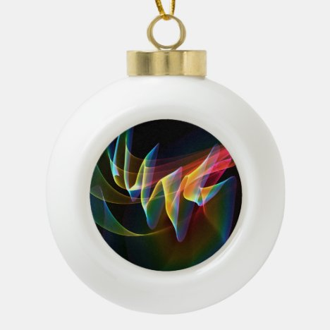 Northern Lights, Abstract Rainbow Aurora Ceramic Ball Christmas Ornament