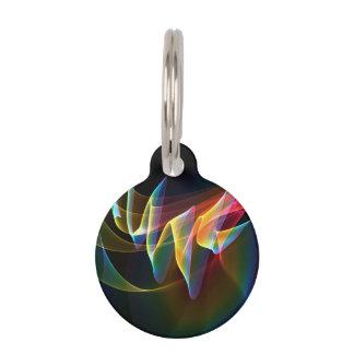 Northern Lights, Abstract Rainbow Aurora Pet Name Tag