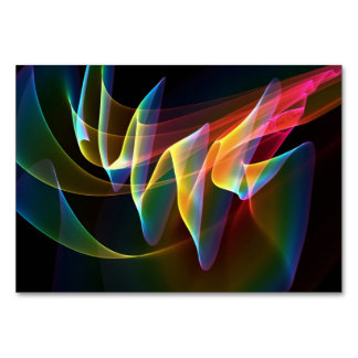 Northern Lights, Abstract Rainbow Aurora Table Cards