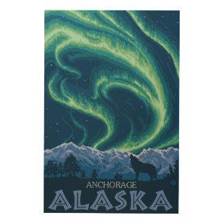 Northern Lights - Anchorage, Alaska Wood Print