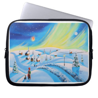 Northern lights and a lantern laptop sleeve