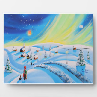 Northern lights and a lantern plaque