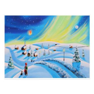 Northern lights and a lantern postcard