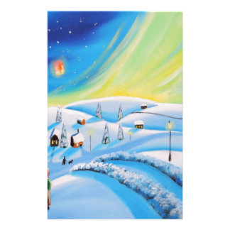 Northern lights and a lantern stationery