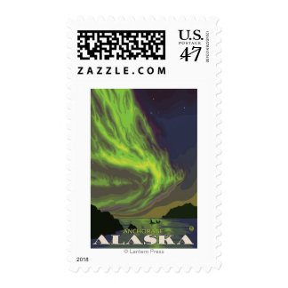 Northern Lights and Orcas - Anchorage, Alaska Postage
