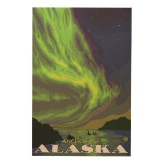 Northern Lights and Orcas - Anchorage, Alaska Wood Wall Art
