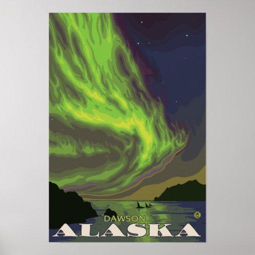 Northern Lights and Orcas - Dawson, Alaska Print