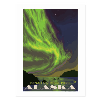 Northern Lights and Orcas - Denali Nat l Park Postcard