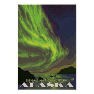Northern Lights and Orcas - Denali Nat'l Park, Poster