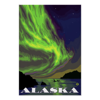 Northern Lights and Orcas Vintage Travel Poster